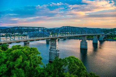Downtown Chattanooga Tennessee and Tennessee River TN