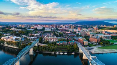 Drone Aerial of Chattanooga Tennessee TN Skyline