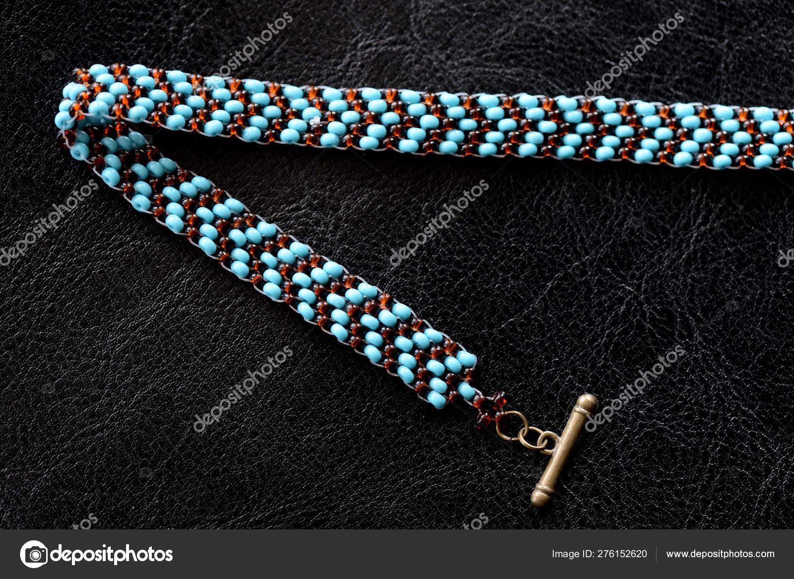 Peyote Choker Necklace Made Seed Beads Dark Background Close Stock Photo C Tallula 276152620