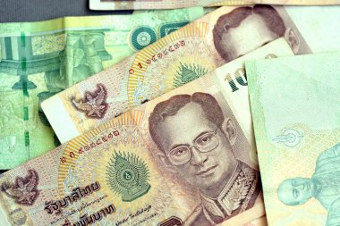 Thai baht various banknotes closeup. Money background