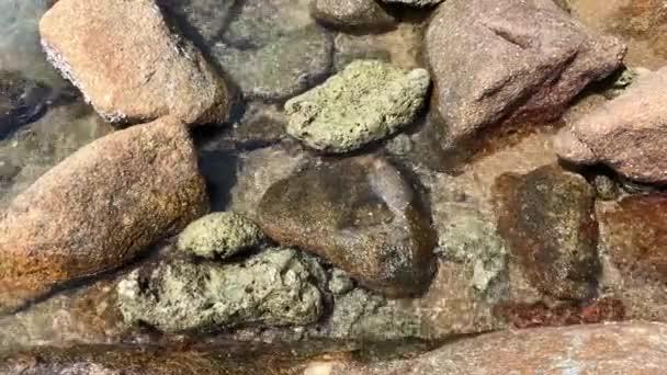 Mořské vody jsou na pobřežních kamenech. Koncept míru a klidu