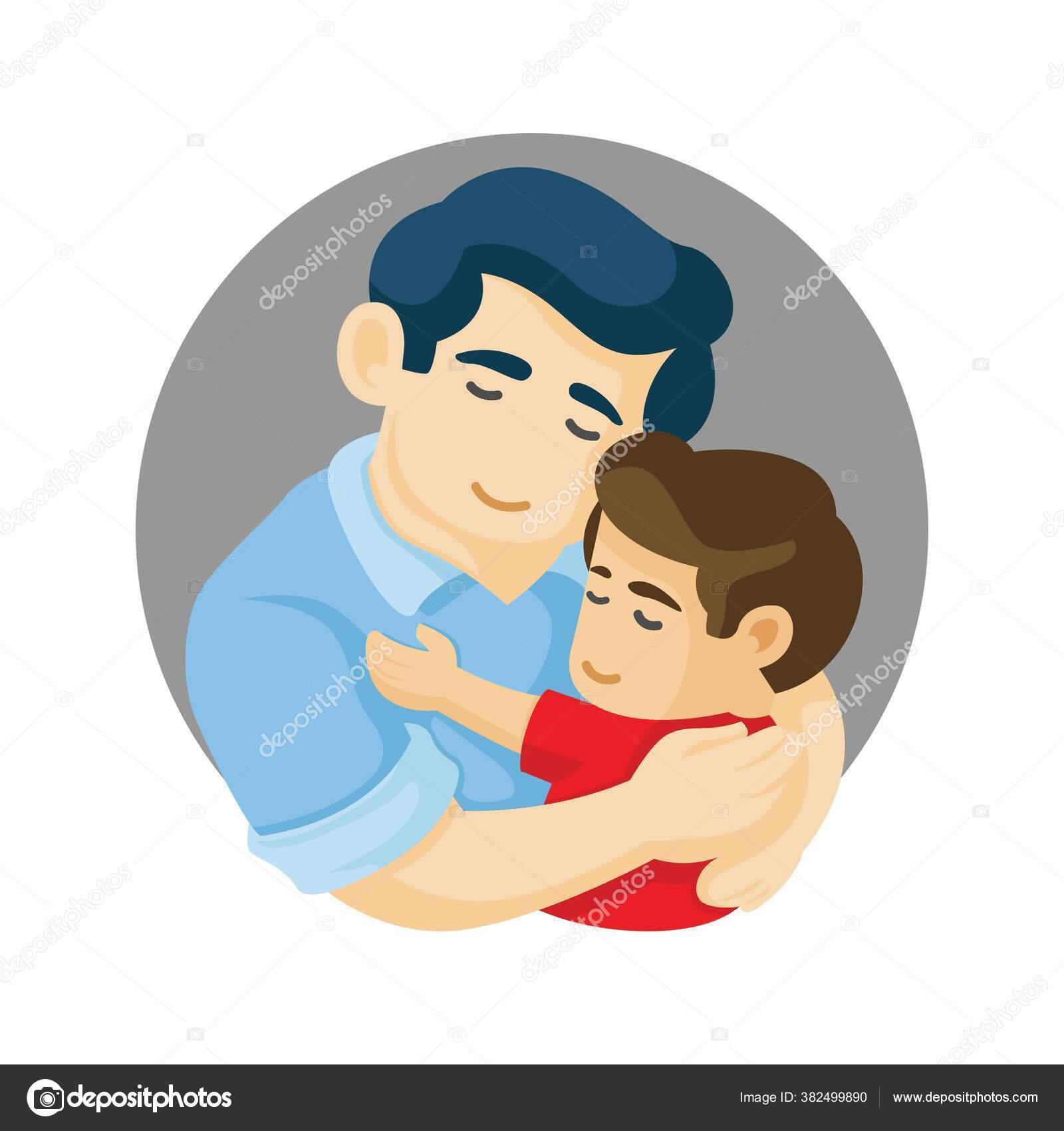 Ayah Dan Anak Berpelukan Ayah Kartu Harian Tentang Ayah Cinta Stok Vektor C Irondah 382499890