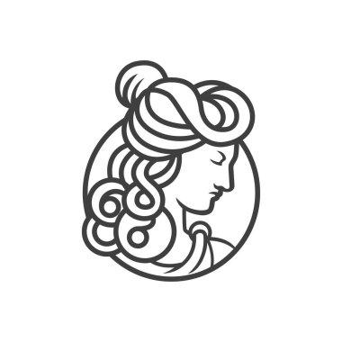 greek goddess female logo. goddess head vector logo vector illustration