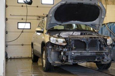 Auto repair service. Services car engine machine concept.