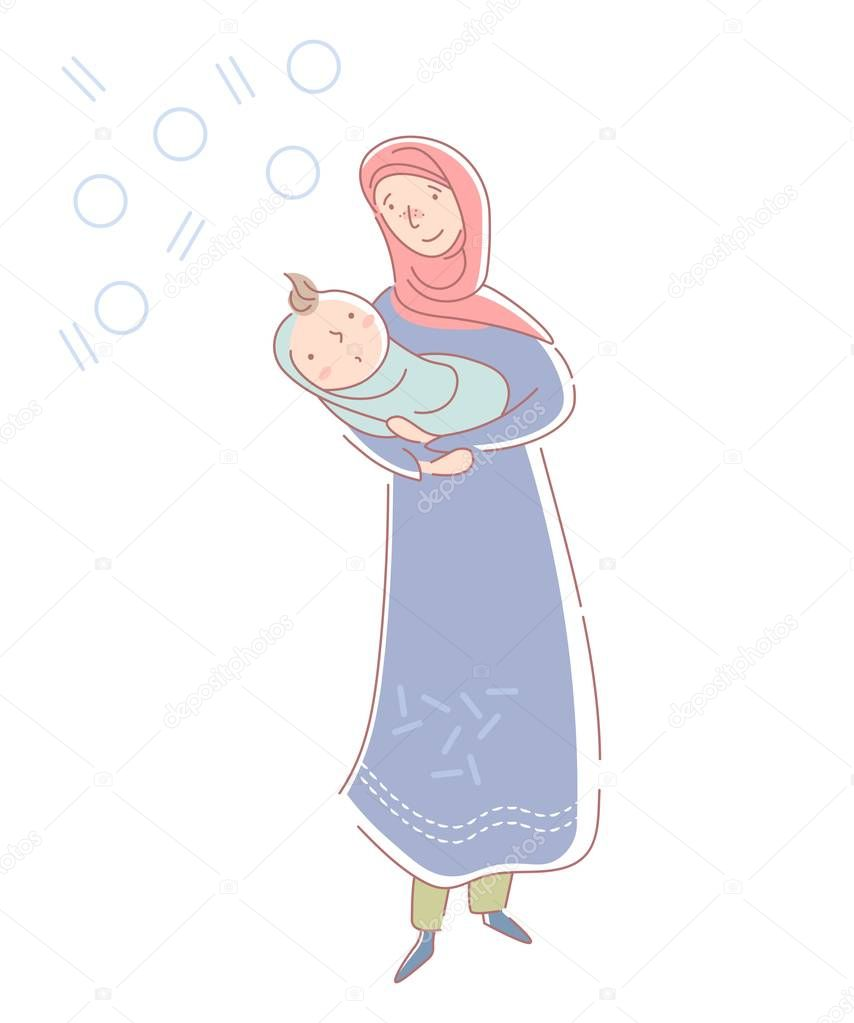 Loving Young Muslim Mother Wearing A Headscarf And Traditional Musllim Dress Cradling A Newborn Baby Boy Wrapped In Blue In Her Arms Isolated On White Vector Illustration Premium Vector In Adobe