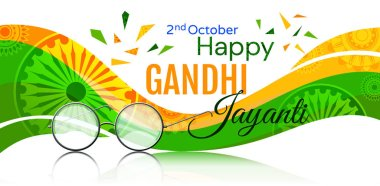 Colorful poster or card design for the Gandhi Jayanti holiday celebration in India on the 2nd October with a drawing commemorating Mahatma Gandhi