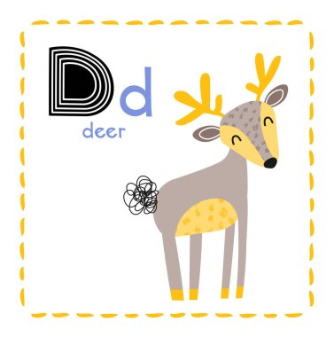 Letter D. Funny Alphabet for young children. Learning English for kids concept with a font in black capital letters in vector.