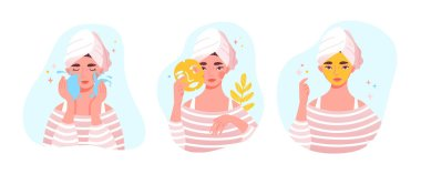 Beauty and skincare concept with cute pretty young woman or girl applying face mask. Flat cartoon vector illustration icon