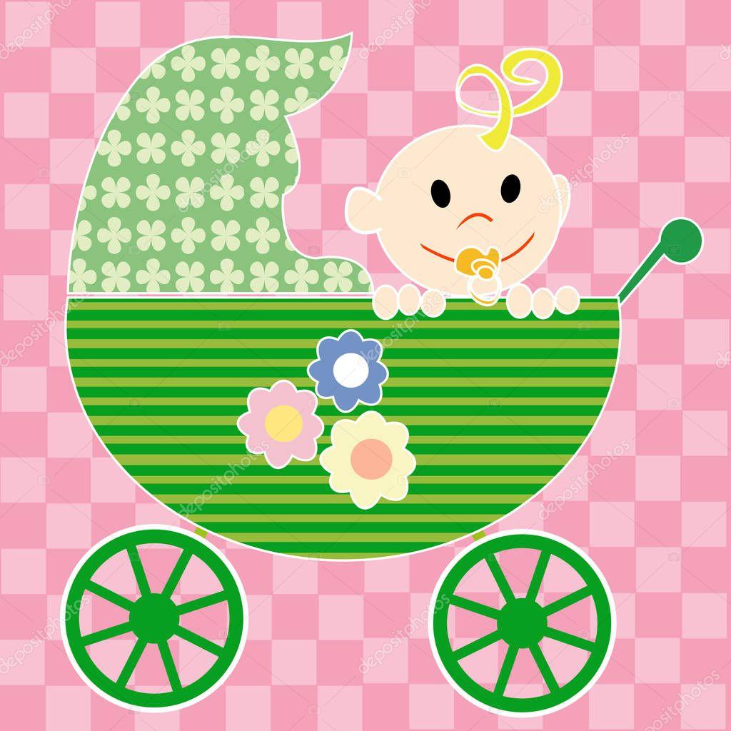 Текст, открытка ребенка в коляске