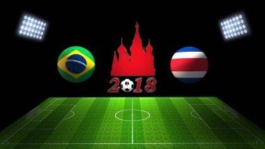 World Soccer Cup Match 2018 in Russia : Brazil vs. Costa Rica, i