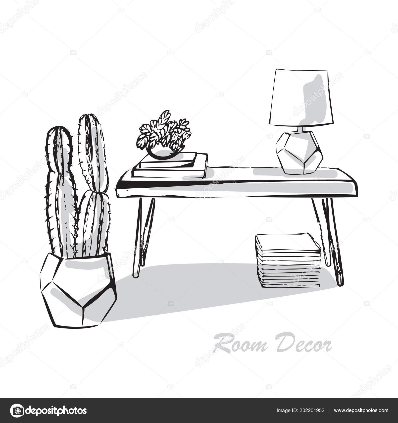 Croquis Illustration Design Interieur Plat Salon Style