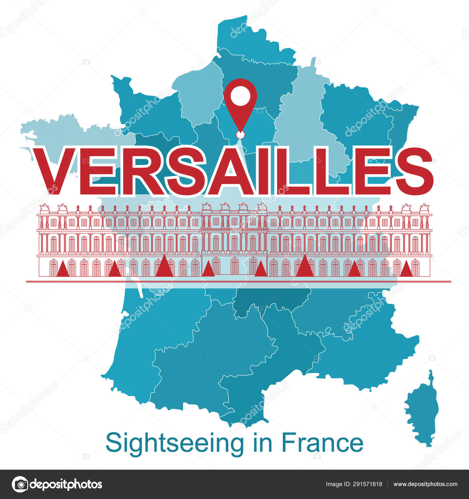 Versailles Map Of France.Map France Image Attractions Versailles Banner Social Networks