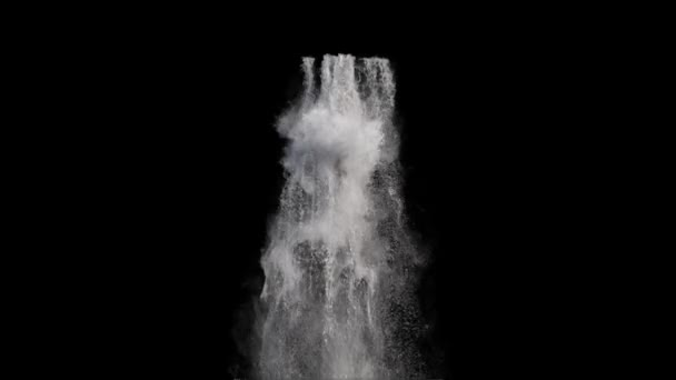 Blick auf Wasserfall auf schwarzem Hintergrund
