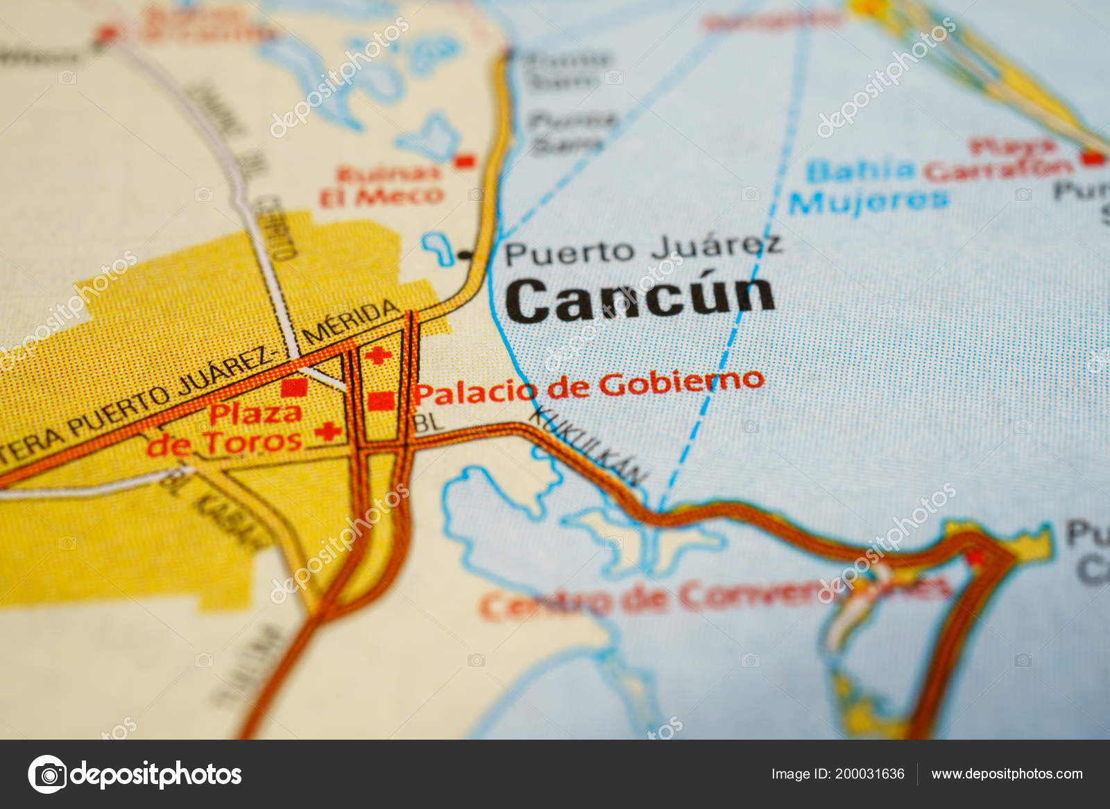Cancun Mexico Map Stock Photo C Aallm 200031636
