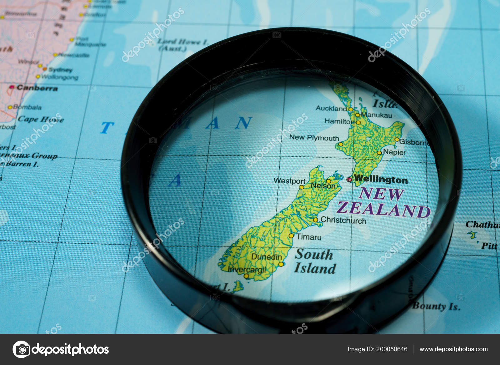 New Zealand On The Map.New Zealand Map Stock Photo C Aallm 200050646