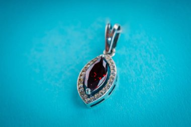 Beautiful silver pendant close up