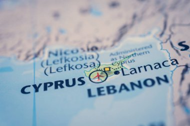 Cyprus on map background