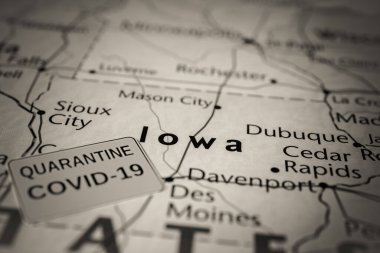 Iowa  state Covid-19 Quarantine background