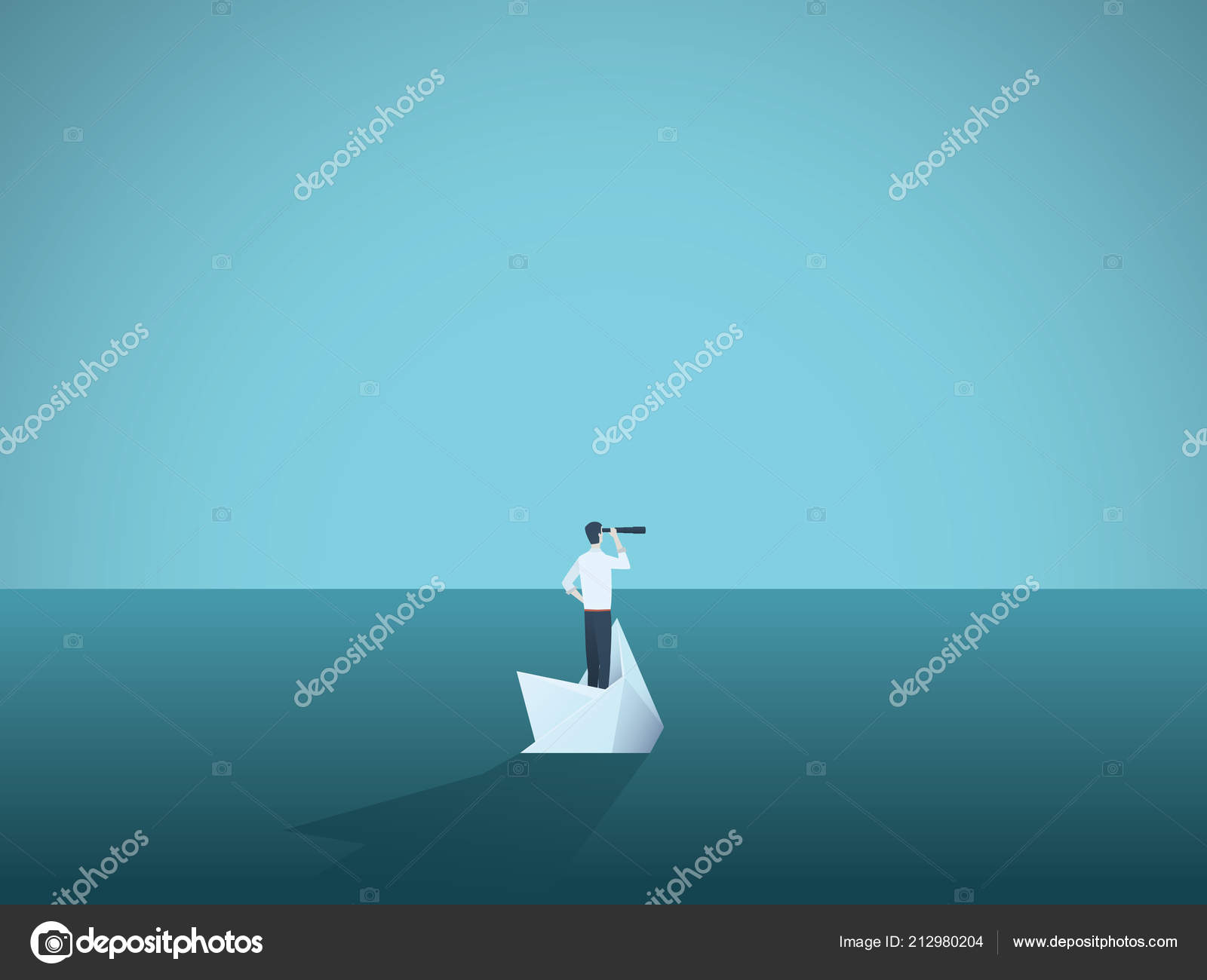 Businessman On A Sinking Ship Paper Boat Symbol Of Bankruptcy