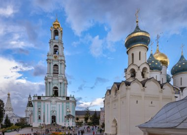 SERGIEV POSAD, RUSSIA: The area in front of the bell tower and Holy spirit Church in the Holy Trinity-St. Sergius Lavra