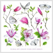 Insieme floreale con rosa della magnolia, rami con foglie e farfalle bianche. Illustrazione di marcatori: elementi per creano il vostro proprio disegno. Imitazione di disegno ad acquerello.