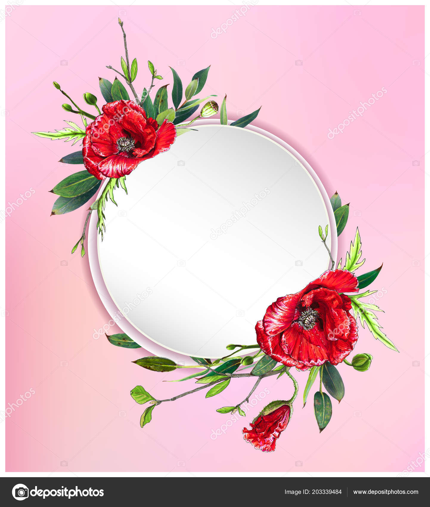 Colorful Floral Background Beautiful Flowers Red Poppies Leaves Markers Art Stock Photo C Inna73 203339484