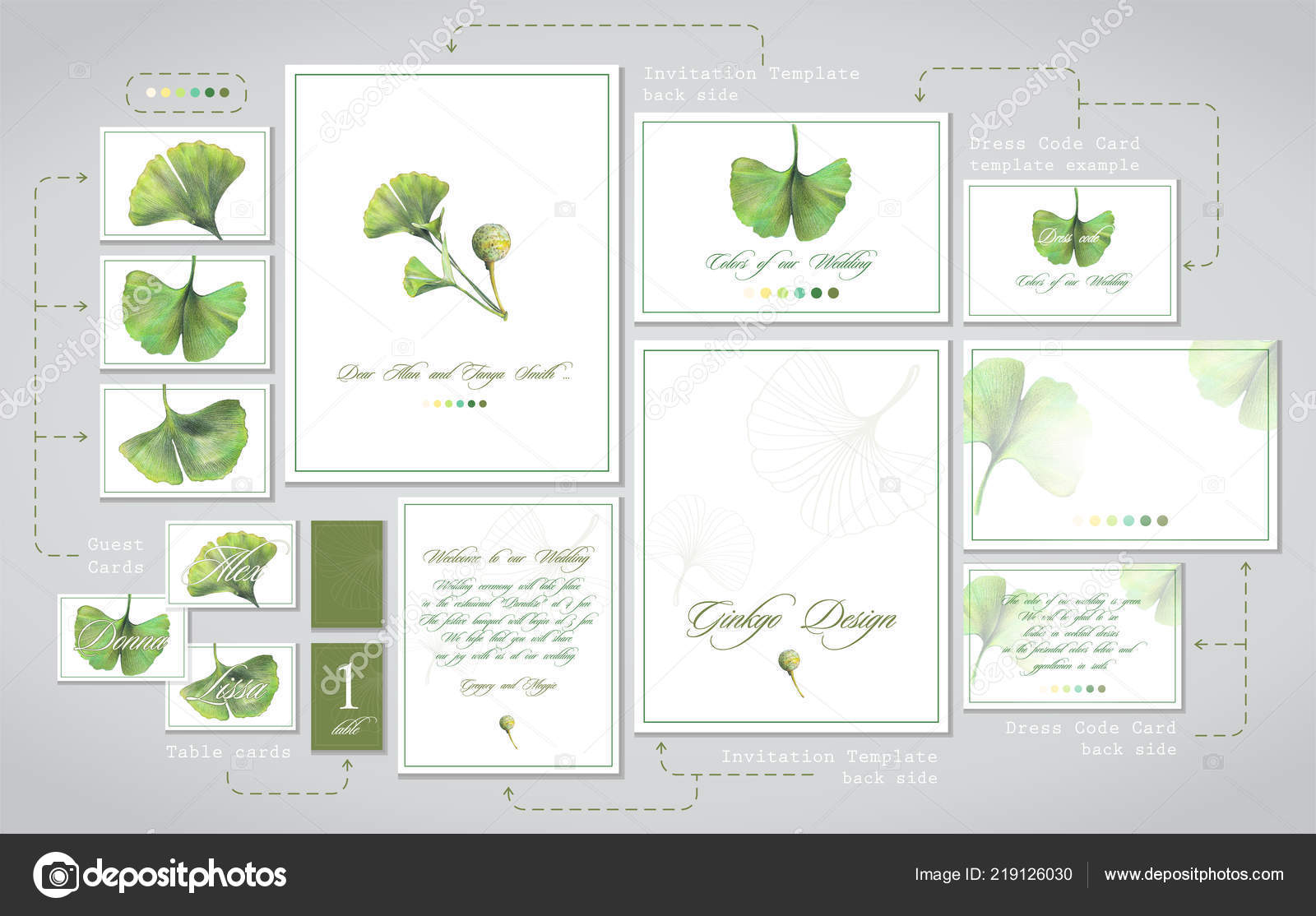 Set Wedding Printing Invitations Cards Guests Dress Code Tables