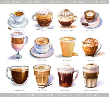 Set with diferent coffee drinks for cafe or coffeehouse menu. Illustration of strong espresso, gentle latte, sweet macchiato and cappuccino, Viennese coffee and glace with ice cream. Markers, watercolor.
