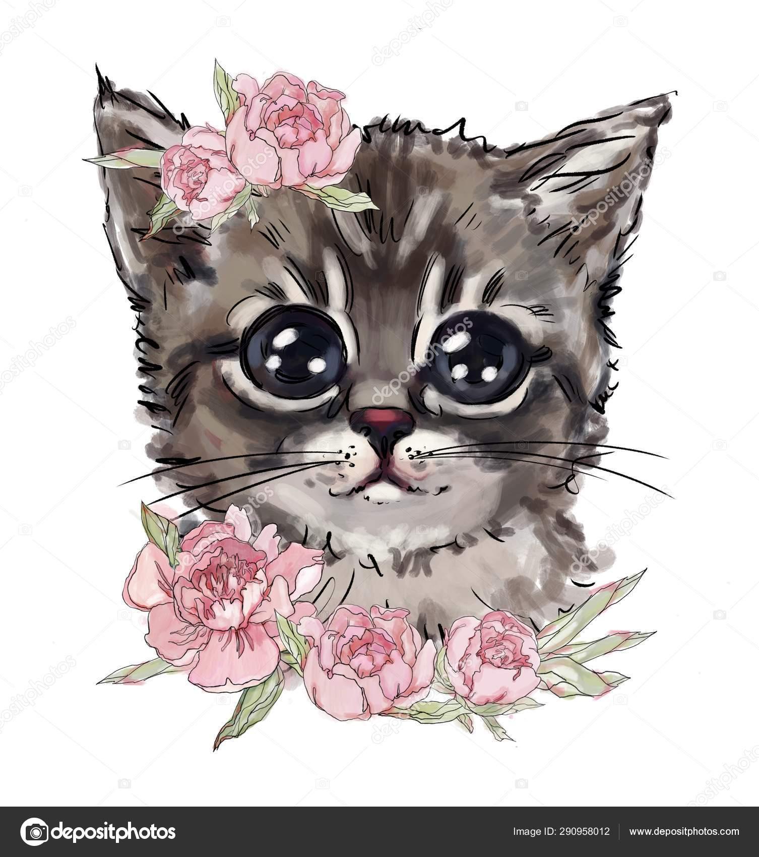 Cute Cat Flowers Cute Animal Favorite Pet Best Shirt Prints Stock Photo C Pure Radiant Art 290958012