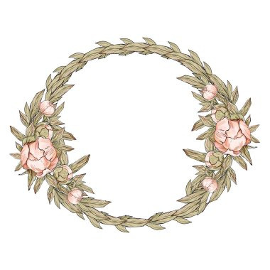 Wedding decor, peonies frame, wreath, flower wreath, decoration stock vector