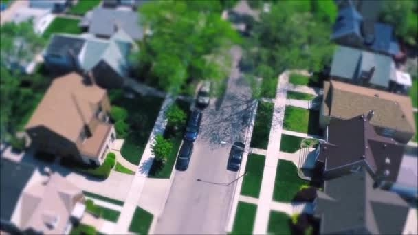 Fascinating drone panorama aerial tilt shift view on tiny houses villas in suburb town village neighborhood