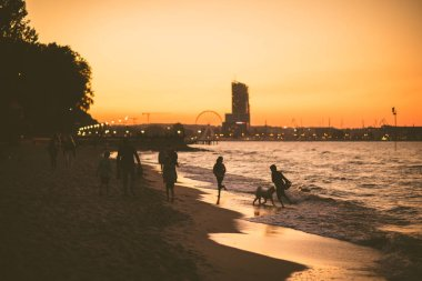 Summertime in Gdynia: Children playing with the dog on the beach during the sunset