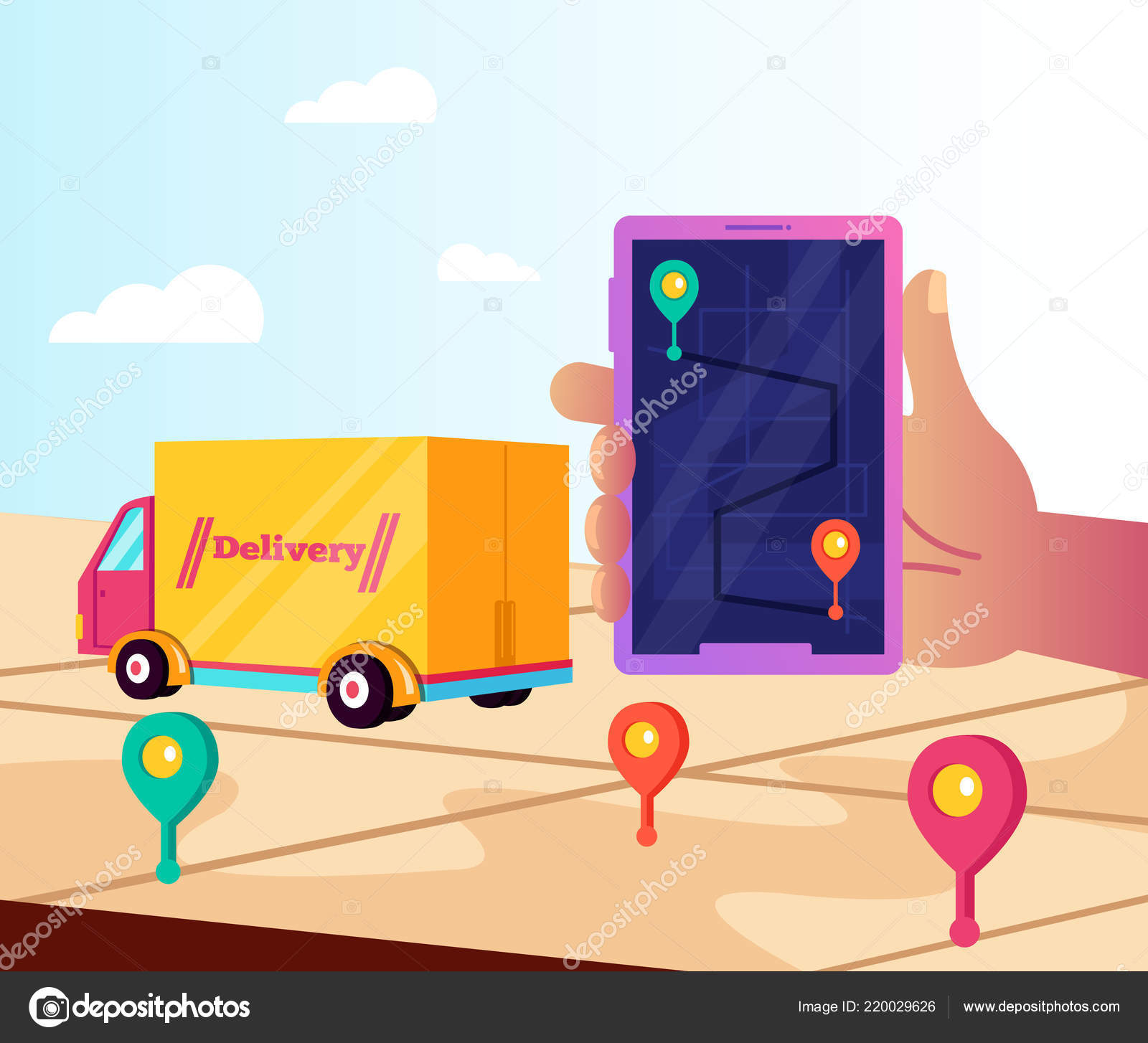 user hand holding phone tracking online cargo delivery online web