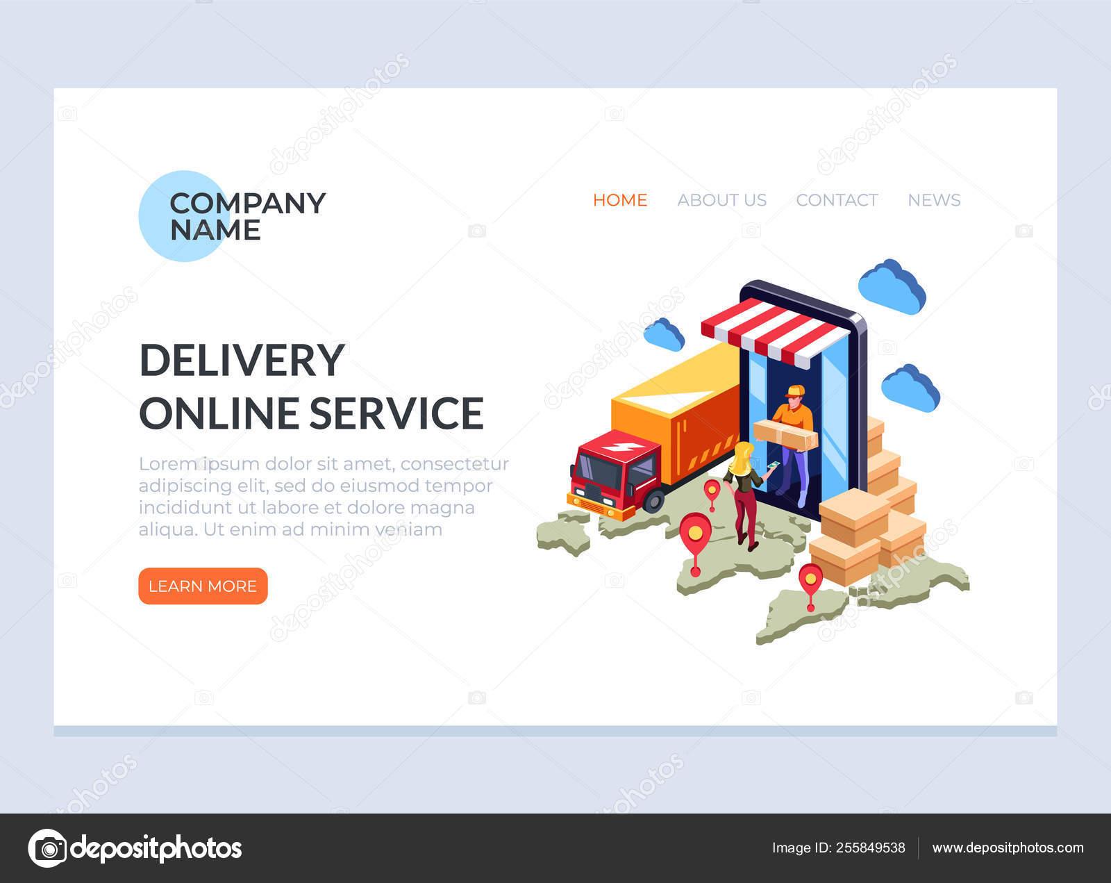 1b13b103c3 Pagina di banner Web di business concept del servizio di consegna online  veloce. Illustrazione del disegno grafico del fumetto piatto vettoriale– ...