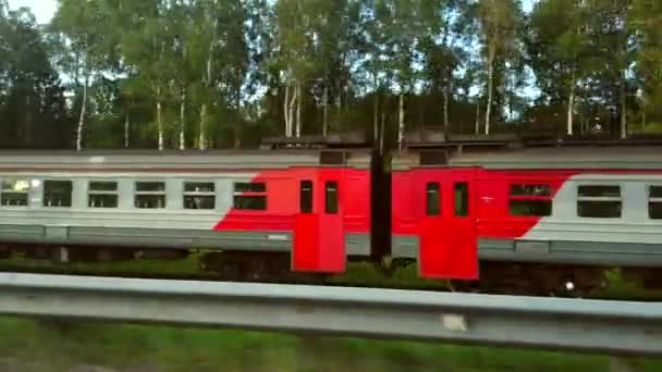 Videography of the railroad and passing trains in motion