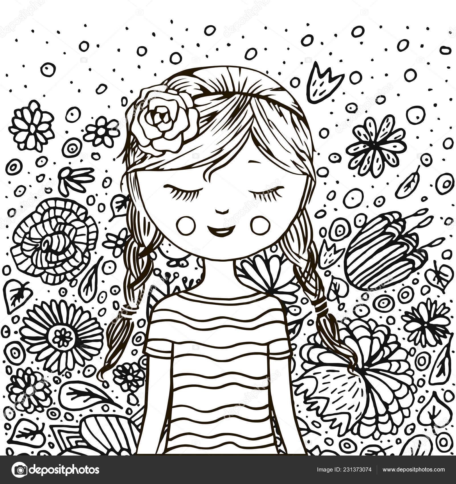Jolie Fille Fleurs Livre Coloriage Noir Blanc Style Doodle