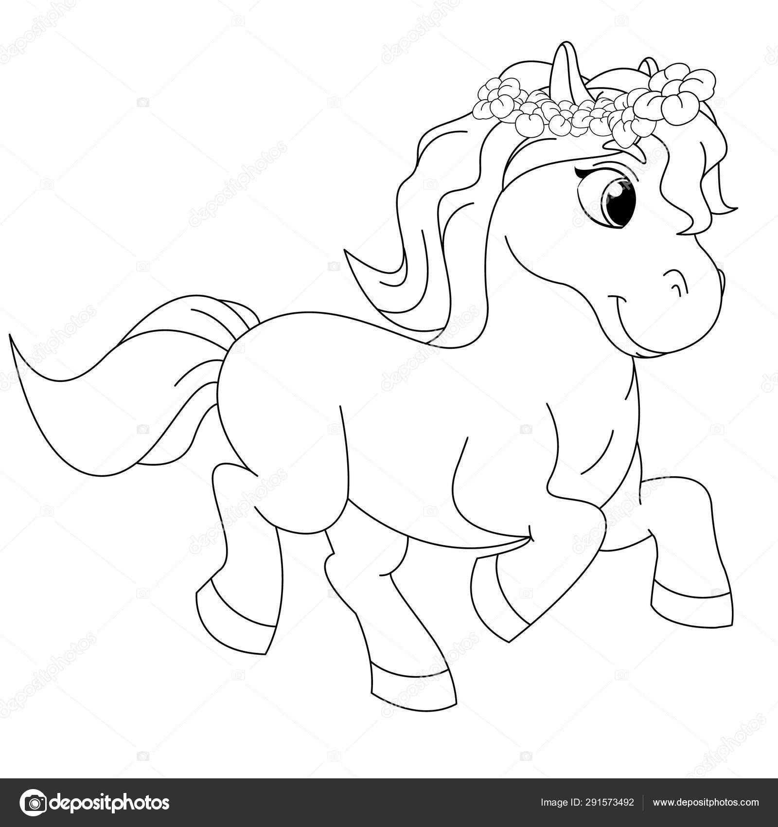 страница книги раскраски сказки пони векторное изображение
