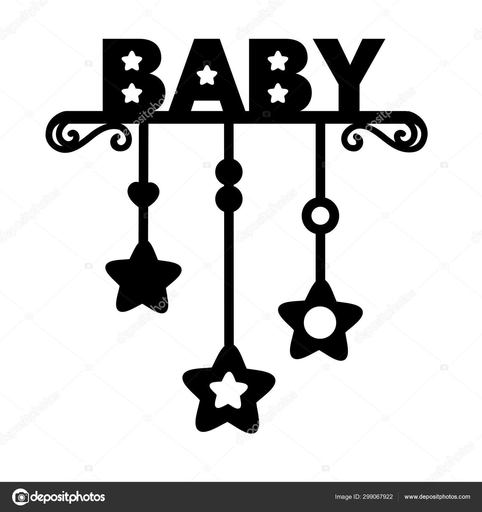 Palabra Bebé Niño Silueta Cortada Por Láser Letras