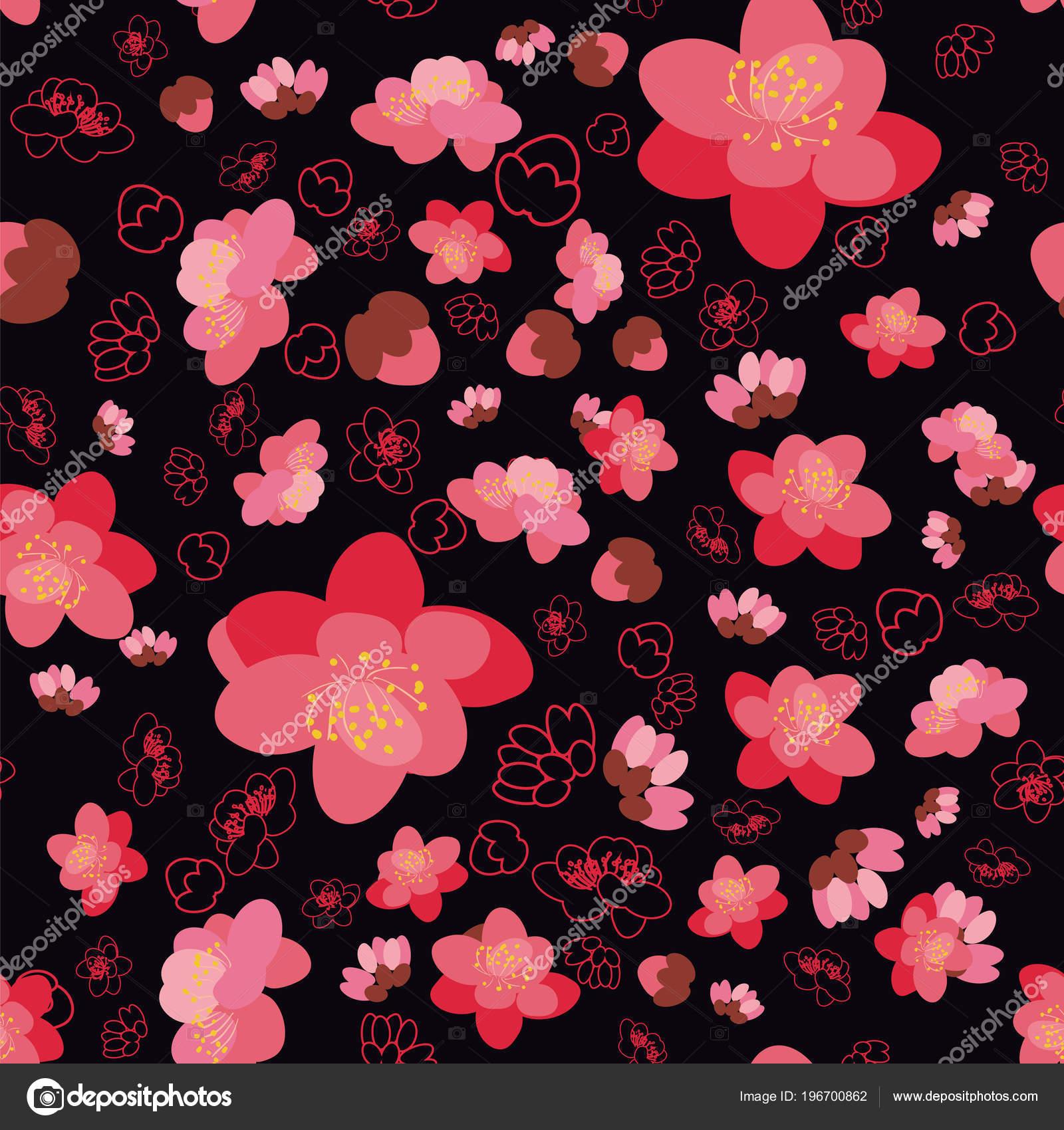 Motif De Transparente Fond Tendance Fleur De Sakura Image