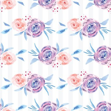 Hand-painted watercolor floral rose Pattern