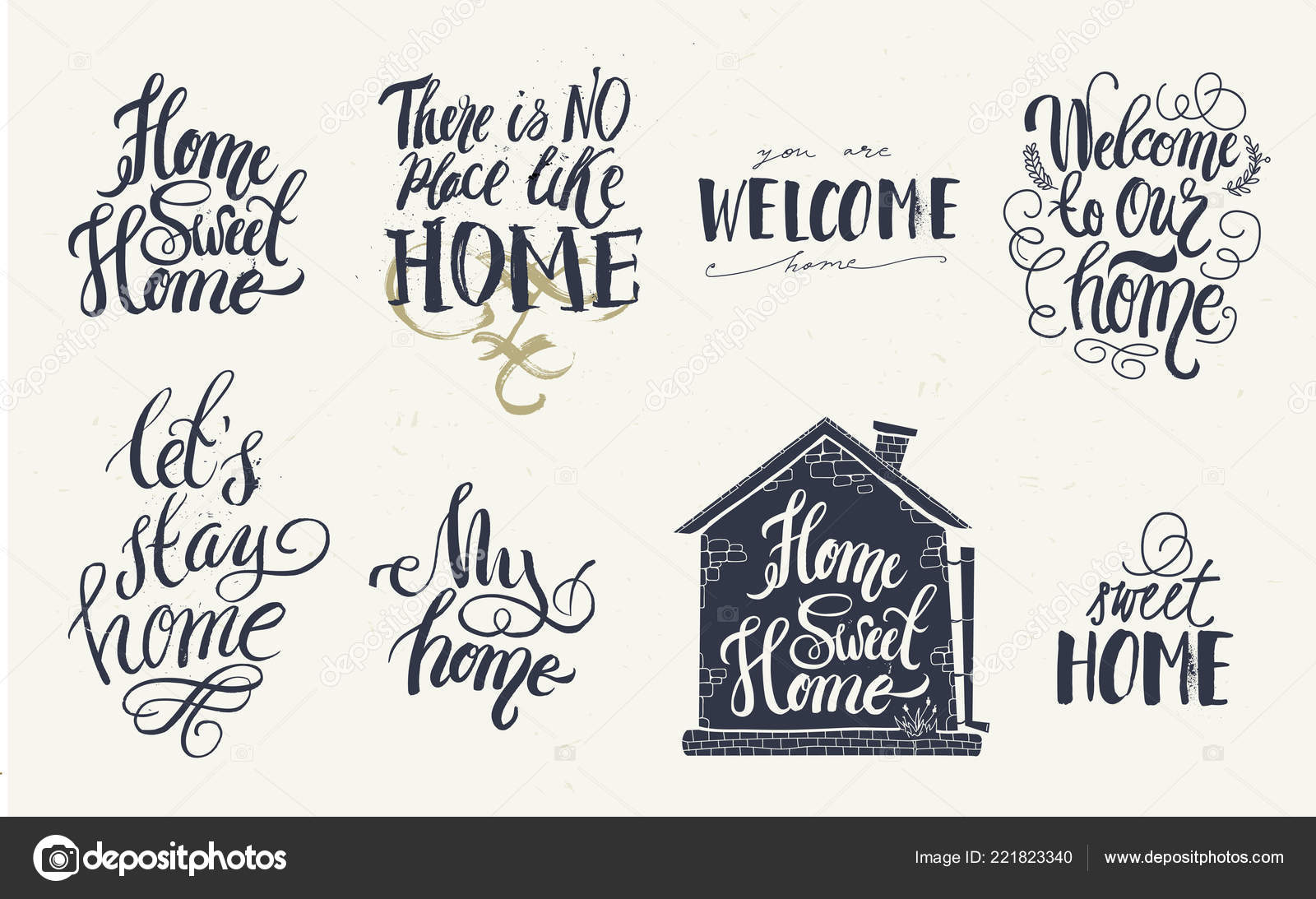 Home And Welcome Decor Quotes Signs Set Isolated On White Background