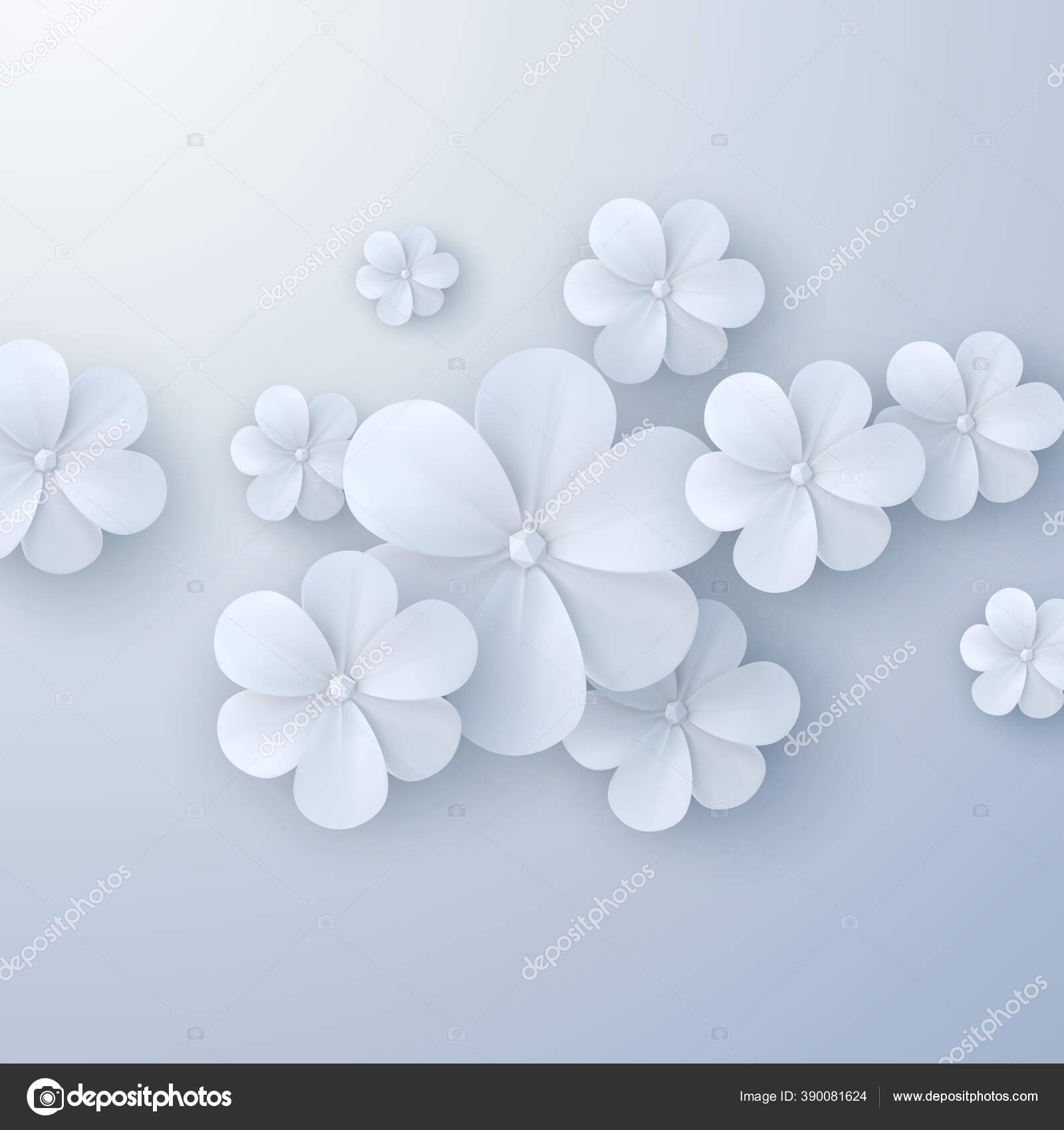 Kertas Memotong Latar Belakang Bunga Vektor Ilustrasi Bunga Kertas Putih Stok Vektor C Maximmmmum 390081624