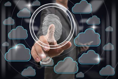 Businessman Fingerprint scan by pressing for unlock all cloud technology data over blurred data center server room background, Business Technology sceurity Concept.
