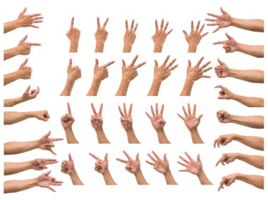 Various hands gestures over white background, include clipping path