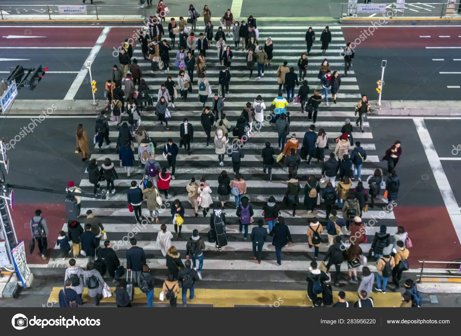 Tokyo Japan Feb 2019 Crowd Undefined People Walking Street