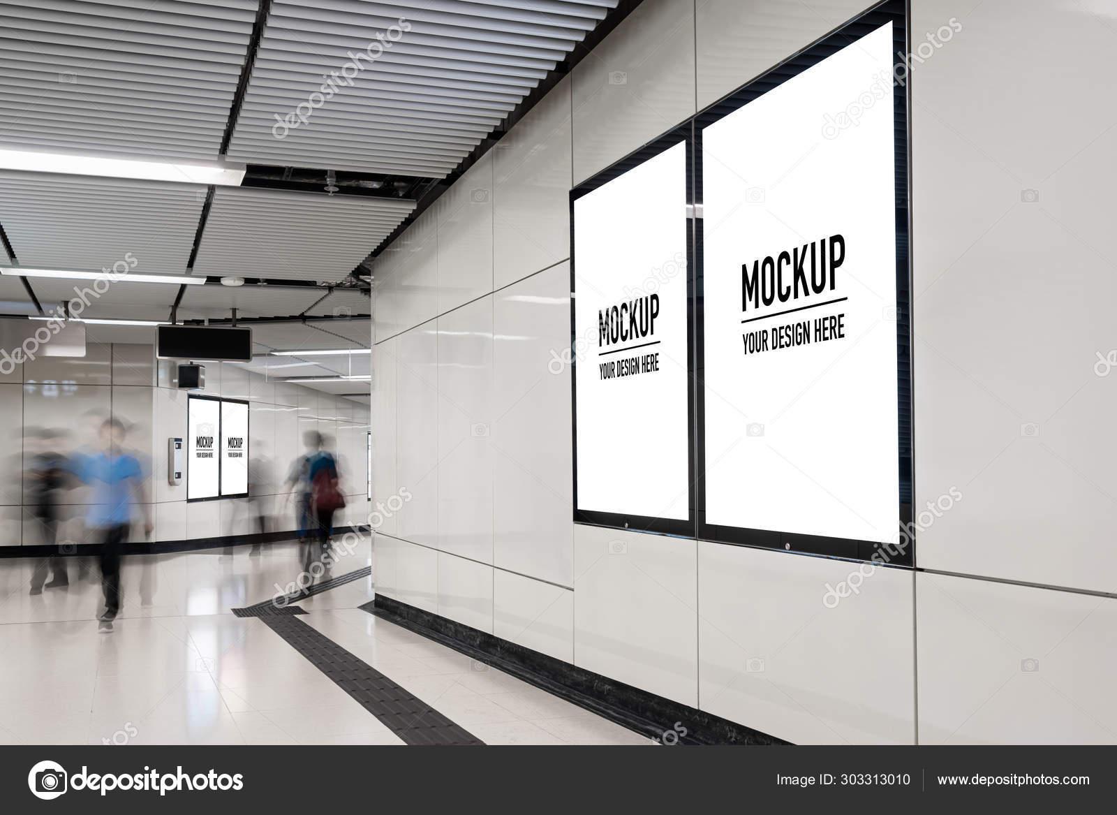 Blank Billboard Located Underground Hall Subway Advertising Mockup
