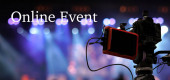 Fotografie Online-Veranstaltungstext über Videokamera Aufzeichnung Online-Webinar oder Konzert über soziales Netzwerk oder Fernsehproduktion ausgestrahlt in neuen normalen, Offline ist vorbei, covid Ausbruch, E-Learning und Online-Seminar