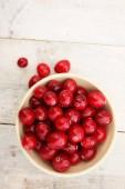 preparing fresh ripe cranberries