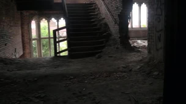 Close Explorando Miedosas Cuartos Oscuros Pasillos Ruinas Iglesia ...
