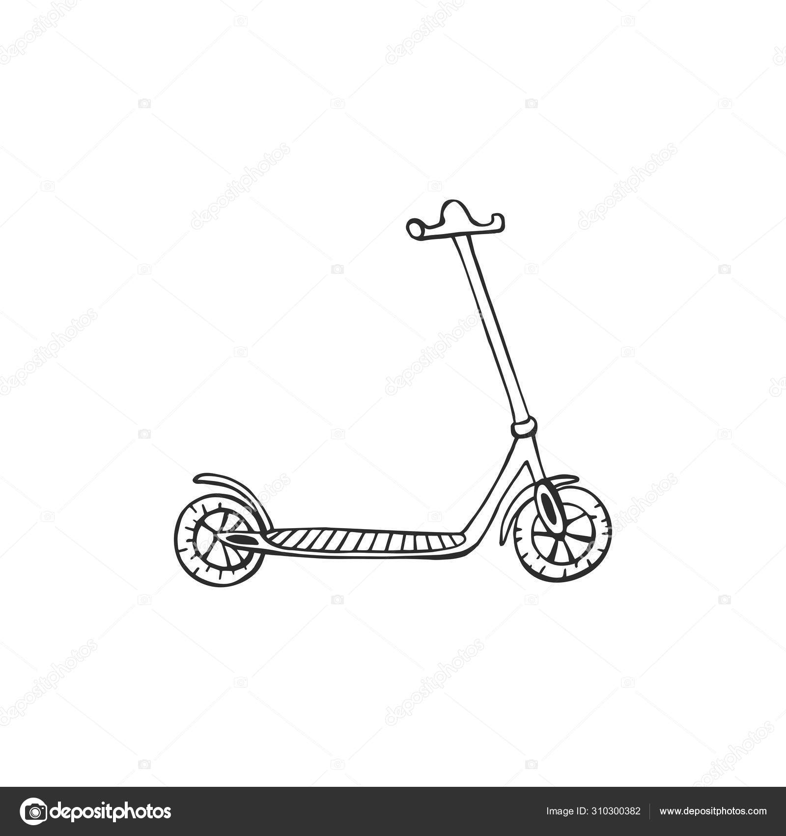 Cartoon Electric Scooter Eps10 Vector Illustration Hand Drawing Art Line Stock Vector C M 310300382